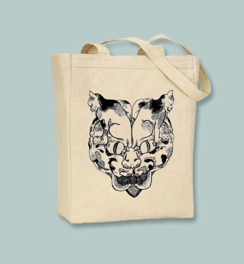 1cade08f8b Ancient Japanese Cat Head of Cats Illustration Black or   Etsy