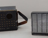 Vintage 60s Admiral AM Transistor Radio in Leather carry case Pocket Radio