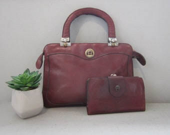 e907c3fffca7 Vintage 60 s Burgundy Leather Etienne Aigner Shoulder Bag Purse EA Wallet  Lot