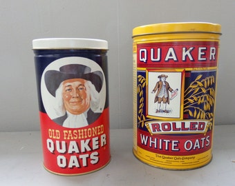 Two Vintage 1980s Quaker Oats Tin Cans Storage Cans Farm house Decor