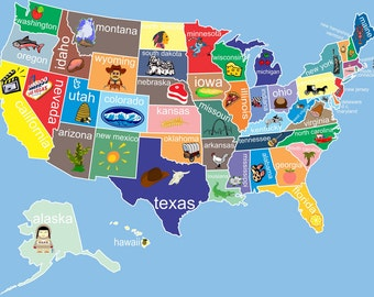 Kids Usa Map.Kids Usa Map Etsy