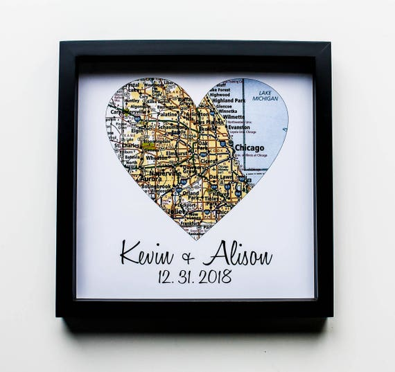 Wedding Gift Map Art Framed Print Personalized Wedding Gift Etsy