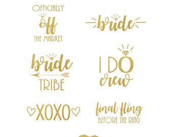 Bride Tribe Tattoo Bachelorette Party Tattoo SET OF 20 Metallic Temporary Tattoo Gold Foil Tattoo Bridesmaid Gifts Flash Tattoo Hens Party