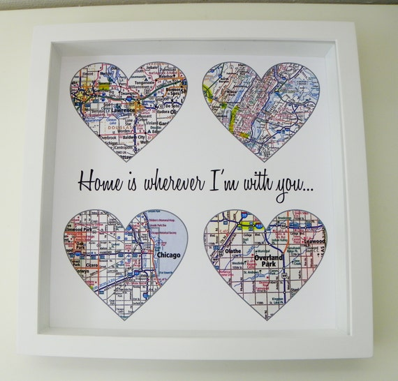 Heart Map Art Personalized Engagement Gift Unique Wedding Gift Etsy