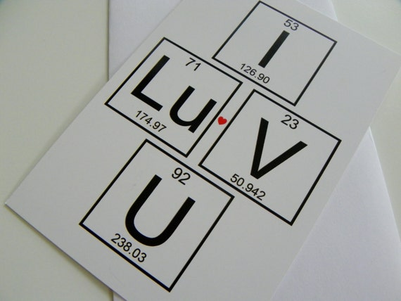 I Love You Periodic Table Of Elements Card Romantic Card Etsy