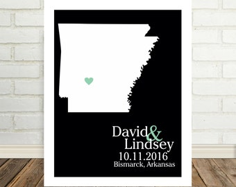 Wedding Gift Arkansas Map Arkansas Print Arkansas Poster State Map Print State Map Art Holiday Gift Valentines Day Gift for Him