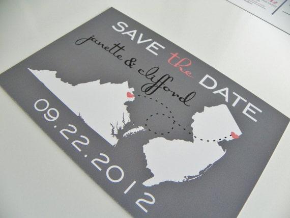 State Save the Date Postcards Invitation Engagement Notice Wedding Map Set of 48 Love Will Find A Way Travel Save the Date Custom Map Cards