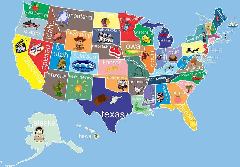 Map Of Georgia For Kids.Kids United States Map Childrens Room Decor Childrens Art Etsy