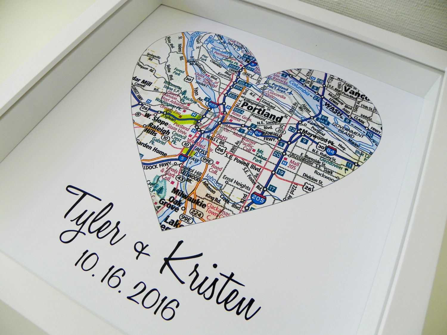 First Anniversary Gift Paper Gift Map Heart Art Framed Any Etsy
