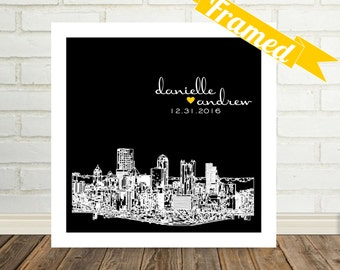 Pittsburgh Skyline Wedding Gift Art Print Personalized FRAMED ART Pittsburgh Pennsylvania Any City Available Wedding Gift Engagement Gift