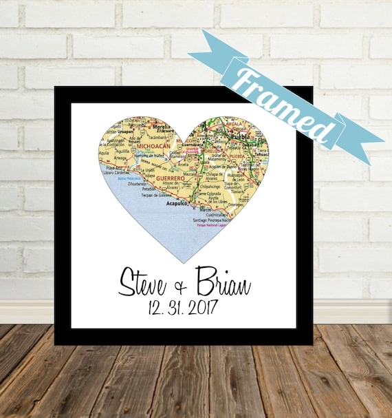 Unique Gay Wedding Gift For Gay Couple Map Art Framed Heart Etsy