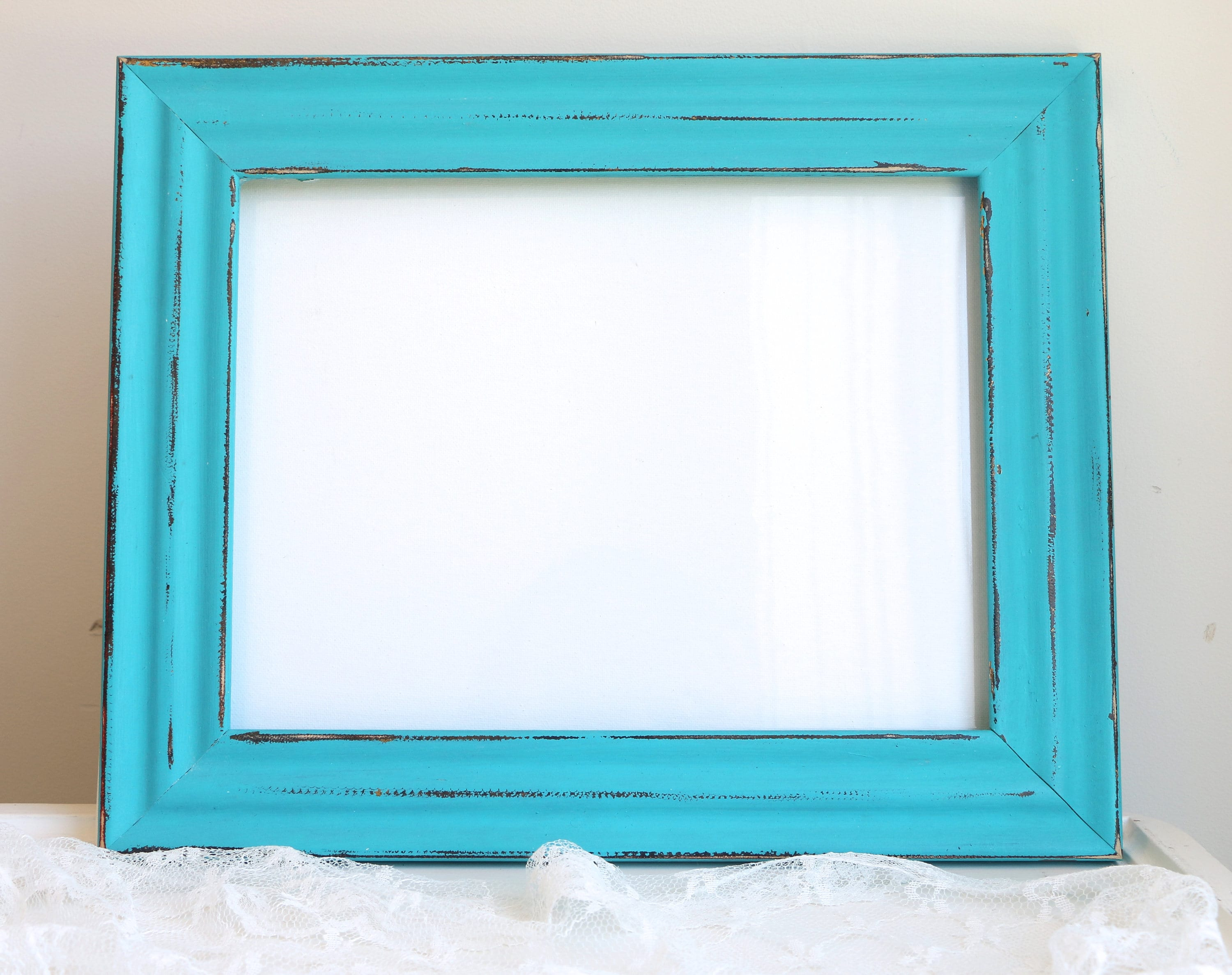Teal azul marco cuadro marco Shabby Chic marco rustico madera ...