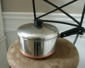 Vintage Double Ring Pre 1968 1801 Revere Ware Stainless 1 Qt. Pot Sauce Pan Copper Clad Bottom Process Patent Heavy Copper Made in USA