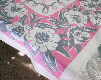 """Vintage 1950's Mid Century Floral Tablecloth Pink and Grey Floral Print with a Pink Ribbon Center 50"""" x 50"""""""