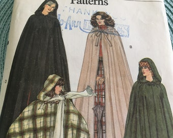 Vintage 70s Very Easy Vogue Classic Cape Coat 3 Lengths 7188 Sewing Pattern Size Medium 12 - 14