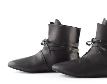 Gift Black real leather boots Cattle leather Medieval style Festival boots by WildGood Gift idea Him or Her Spring Larp shoes barefoot shoes