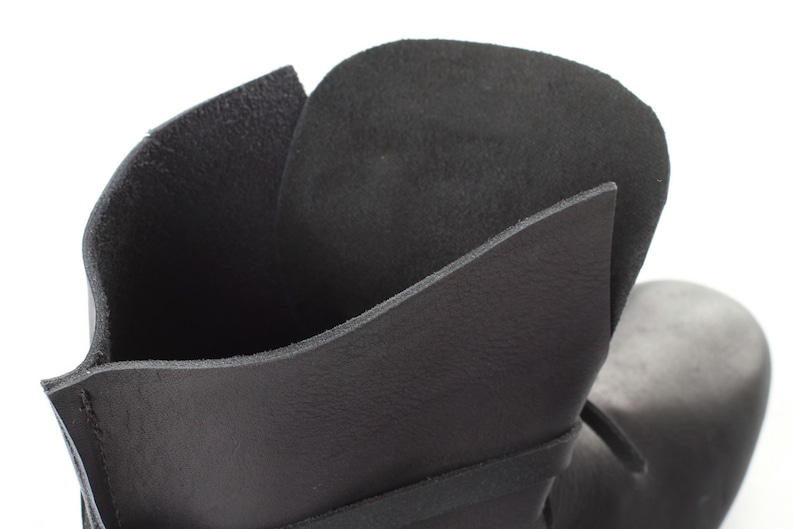 Gift Black real leather boots Cattle leather Medieval style DnuxxefD