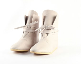 Gift Real leather white summer boots Light Cattle leather Medieval Festival shoes WildGood Unisex boots Ethnic Larp shoes barefoot shoes