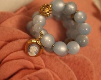 Blue Beaded Bracelet with Small Cameo Locket
