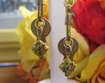Small Gold Key Recycled Earrings