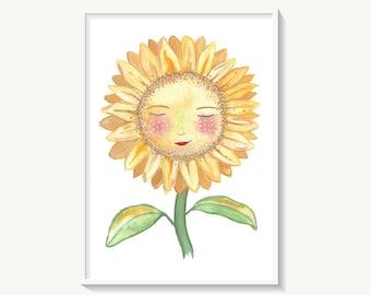 Sunflower print, cute happy sunflower wall art, flower poster