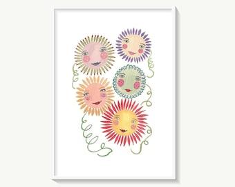 Happy flowers print, cute flower nursery art, colourful floral print