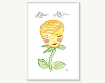 Yellow rose painting, original flower watercolour art, 4 x 6 cute floral artwork