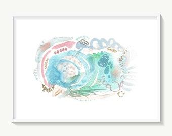 Sea painting, original abstract ocean art, gouache artwork, blue wall decor
