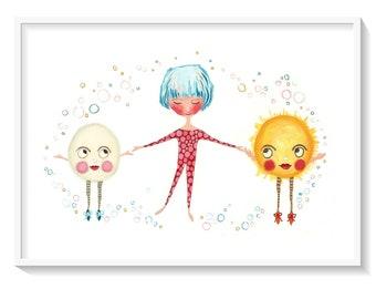 Bubble Dancers, cute fun happy art print, sun and moon