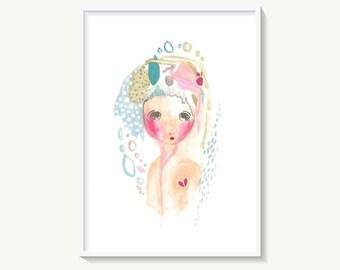 Broken Heart Art Print, Sad Girl Illustration