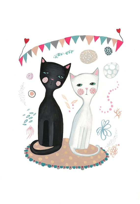 Black Cat And White Cat Print Cute Cats Print Yin And Yang Etsy