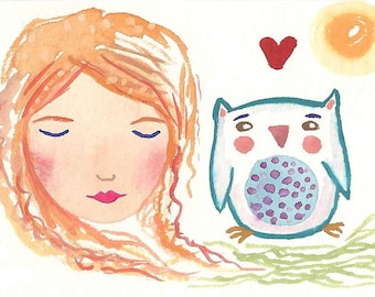Girl and owl original painting, aceo,cute small illustration, redhead, red hair girl, i love owls