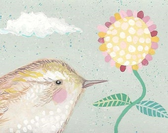 Original ACEO Wren Bird Painting, Whimsical Cute Wren Flower Illustration ACEO