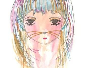 Cat Girl Bedroom Print Art for Girls Artwork by Coramantic