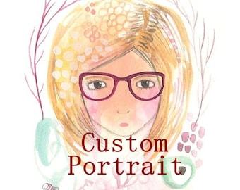 Custom portrait art commission custom art personalised portrait