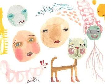 ACEO original drawing weird creatures original art