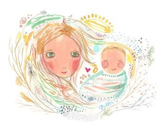 Nouveau bébé garçon, impression nouveau bébé, bébé, maman et bébé garçon, art bébé