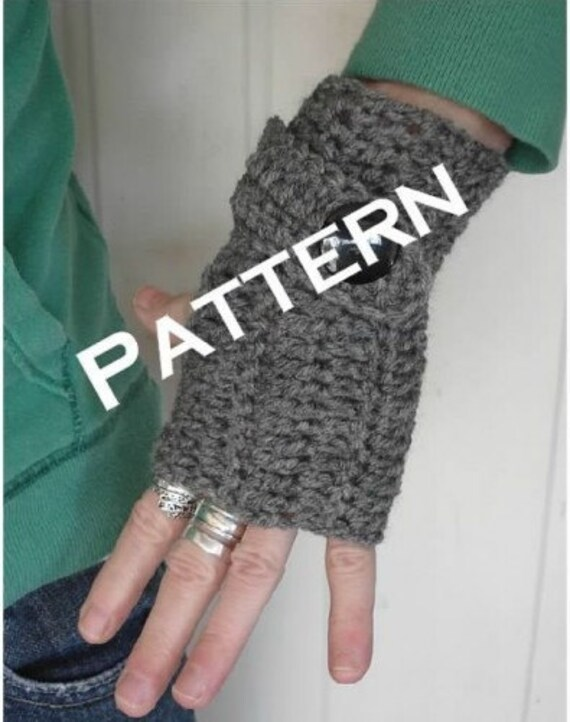 Crochet Fingerless Mittens With Faux Button Strap Pdf Tutorial Etsy