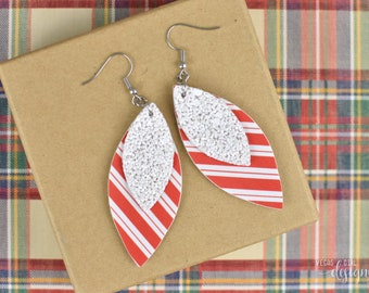 Candy Cane Glitter Faux Leather Earrings