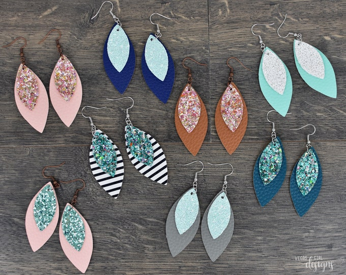 Featured listing image: Layered Glitter And Faux Leather Earrings Marquise Shape