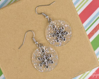 Glittery Jelly and Silver Snowflake Earrings