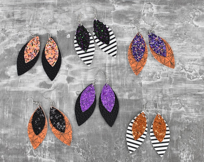 Featured listing image: Halloween Glitter Faux Leather Earrings-You Choose Combo