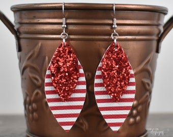 Red and White Glitter Faux Leather Earrings