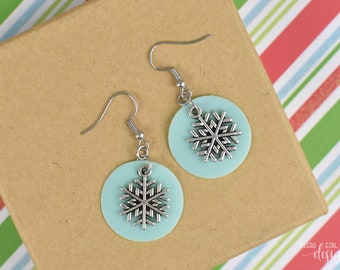 Icy Aqua Jelly and Silver Snowflake Earrings