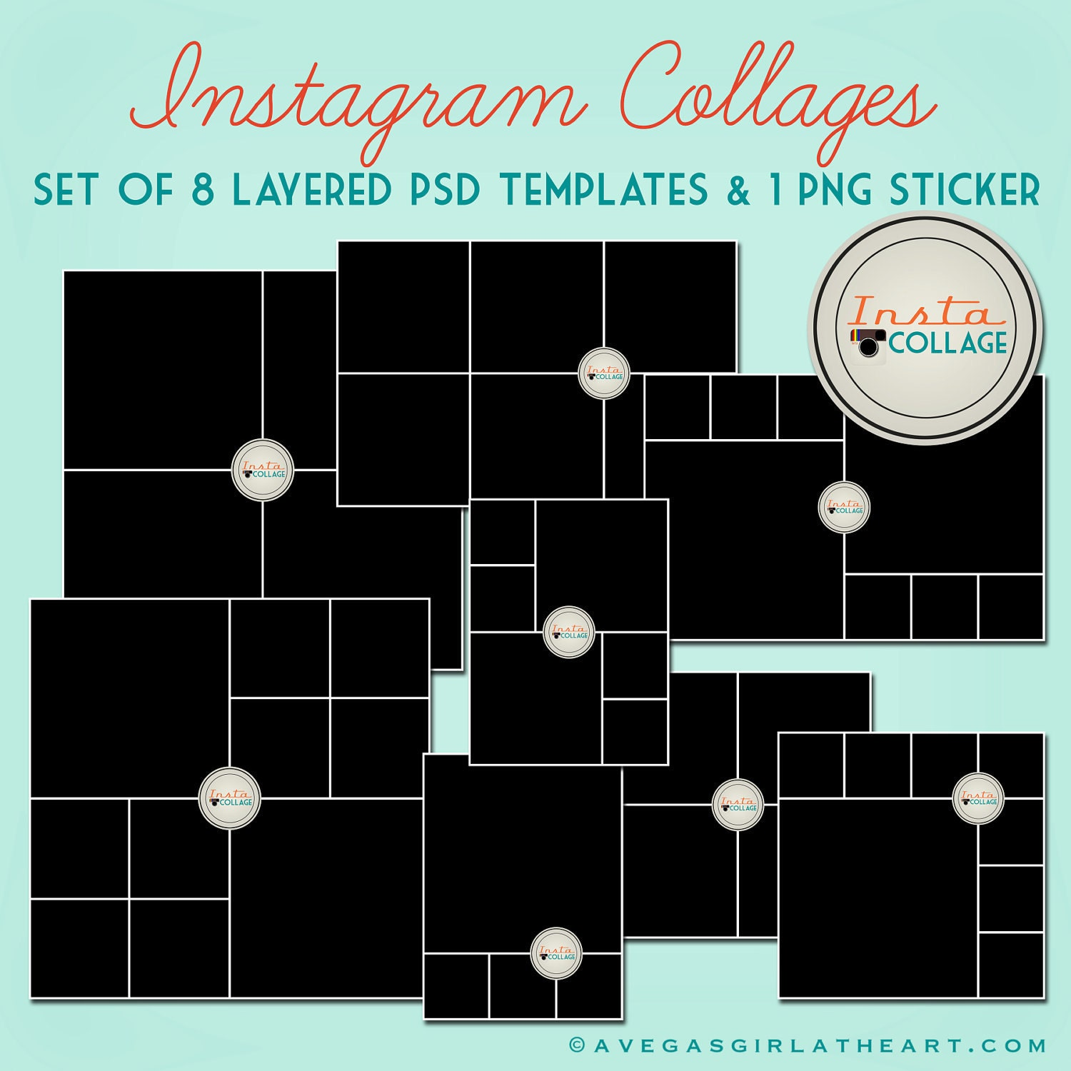Instagram Layered PSD Collage Templates - 3x4, 4x4, 4x6, and 6x6