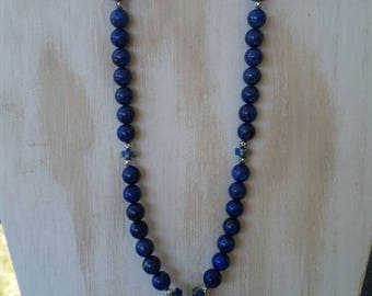 Reiki infused, 19 inch lapis lazuli pendulum necklace with lapis beads, imperial jasper beads, and metal beads