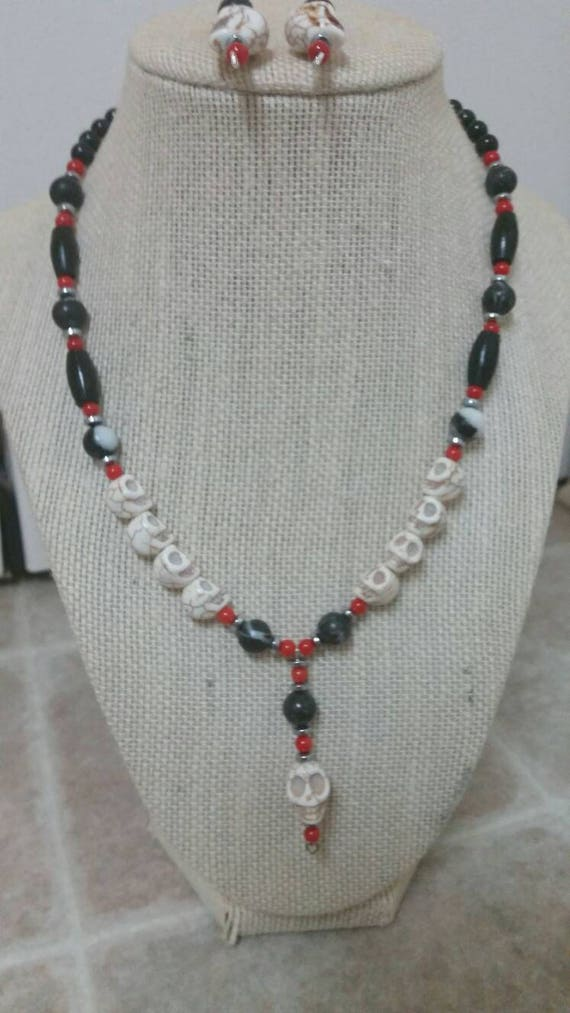 22 inch necklace and earrings set featuring turquoise beads black horn pipe and hematite beads Bold and eye-catching