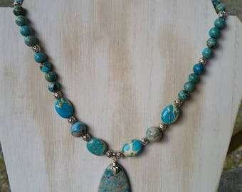 Reiki infused, 19 inch blue imperial jasper pendant necklace