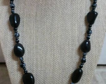 Protective, 21 inch necklace with black tourmaline, snowflake obsidian, and hematite