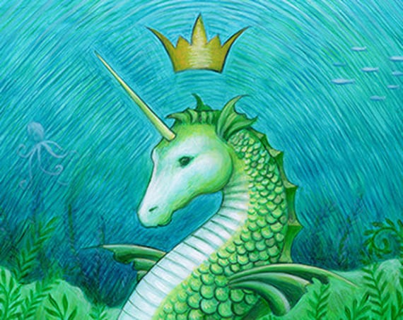 Seahorse unicorn mermaid - Ocean seascape art print - bathroom wall art